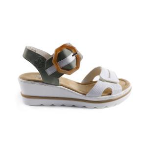 Sandale dama Rieker 67476-81 Alb cu Verde