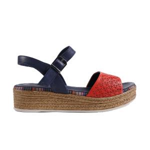 Sandale dama DONNA STYLE 0668 Albastru cu Rosu