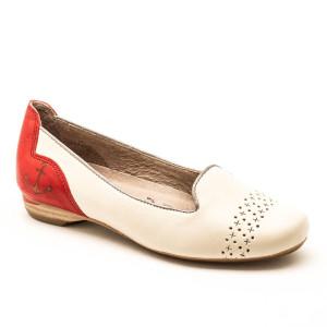 Pantofi dama Softwaves Crem cu Rosu