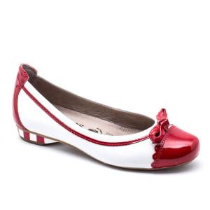 Pantofi dama Softwaves Alb cu Rosu