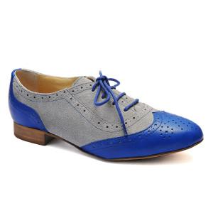 Pantofi dama Aleea Gri Velur cu Albastru